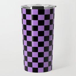 Black and Lavender Violet Checkerboard Travel Mug
