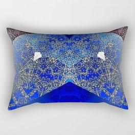 Royalty Inspired Blue Red Gold Abstract Rectangular Pillow
