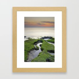 Green, white a red coast Framed Art Print