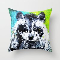 raccoon Throw Pillows featuring RACCOON by Maioriz Home