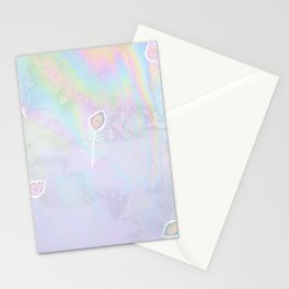 Holographic feather Stationery Cards