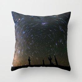 Star Trails over Atacama Desert Cacti Throw Pillow