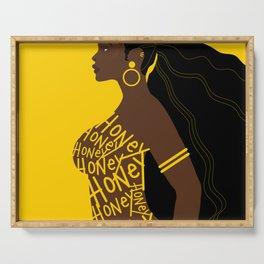 Honey // Yellow, Melanin, Woman, Femme, Black, Brown, Gold Serving Tray