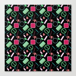 Contraception Pattern (Black) Canvas Print