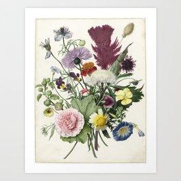 Bouquet of Flowers - Vintage Illustration, 1680 Art Print