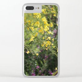 Yellow Palo Verde Blossoms on Purple Texas Ranger Flowers in Background Clear iPhone Case