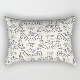 Natural Olive Leaf Berry Birds on Branch Rectangular Pillow
