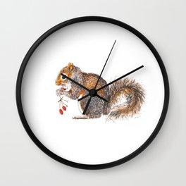 Berries Squirrel Wall Clock