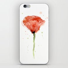 Poppy Watercolor Abstract Red Flower iPhone & iPod Skin