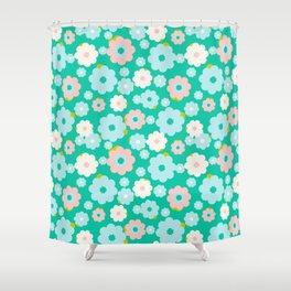Small blue, white and pink flowers over a turquoise background Shower Curtain