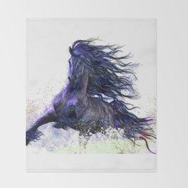 Horse running  Throw Blanket