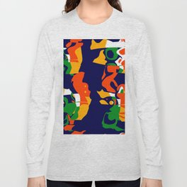 Shapes on a blue background Long Sleeve T-shirt