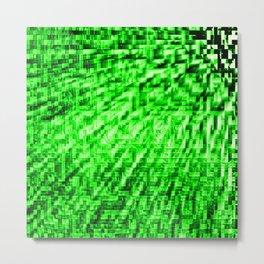 Green Pixel Wind Metal Print