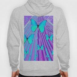 MIGRATING NEON BLUE BUTTERFLIES & PURPLE  ART Hoody
