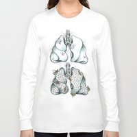 lungs Long Sleeve T-shirts featuring Honey Lungs by Maia Fjord