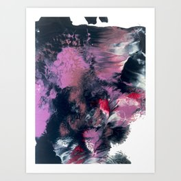 Thunderstorm: a vibrant, abstract acrylic piece in purple, blue, magenta, and white Art Print