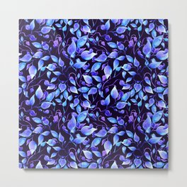 Painted watercolor blue mystic leaves Metal Print