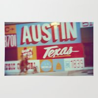 austin Area & Throw Rugs featuring Austin, Texas by Wolf Feather