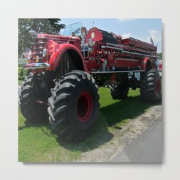 Real Big Fire Truck Metal Print