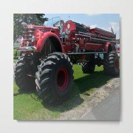 Real Big Fire Truck Metal Print