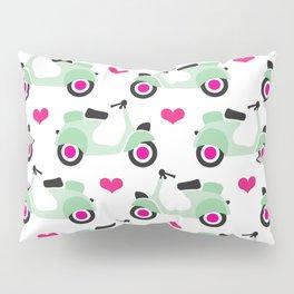 Italian vespa scooter illustrated pattern Pillow Sham