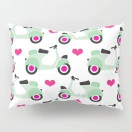 Italian vespa scooter illustrated pattern Pillow Sham