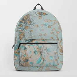 Pastel Botanical Watercolor Pattern Teal Gold Glitter Backpack