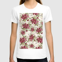Poinsettia Pattern T-shirt