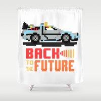 delorean Shower Curtains featuring Back to the future: Delorean by AlbaRicoque