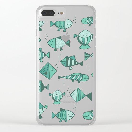 Geometric fish Clear iPhone Case