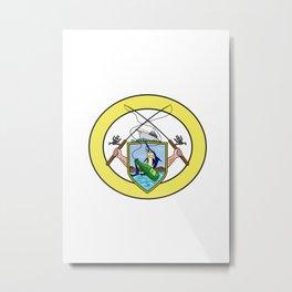 Fishing Rod Reel Blue Marlin Beer Bottle Coat of Arms Oval Drawing Metal Print