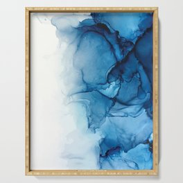 Blue Tides - Alcohol Ink Painting Serving Tray
