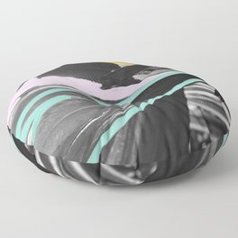 Fan Service I - Tropical Palm Leaves Modern Mixed Media Photography Illustration Floor Pillow