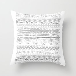Grey aztec pattern Throw Pillow