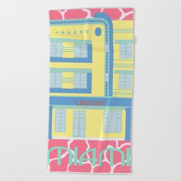 Miami Landmarks - Crescent Beach Towel