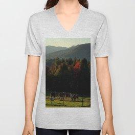 Draft Horses in Vermont Foliage Unisex V-Neck