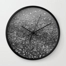 Silver Gray Black Glitter #2 (Faux Glitter - Photography) #shiny #decor #art #society6 Wall Clock