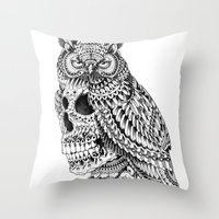 bioworkz Throw Pillows featuring Great Horned Skull by BIOWORKZ