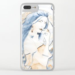 Blue hair art nouveau Clear iPhone Case