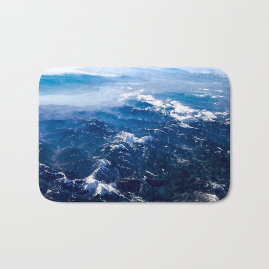 Mountains with snow winter nature Bath Mat