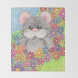 Hammy in Flowers Throw Blanket