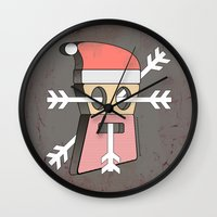 merry christmas Wall Clocks featuring Merry christmas by AmDuf