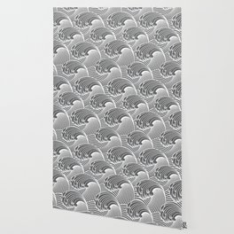 Vintage Japanese Waves, Gray / Grey and White Wallpaper