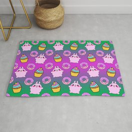 Cute funny Kawaii chibi pink little playful baby bunnies, happy sweet donuts and adorable colorful yummy cupcakes green seamless pattern design. Rug