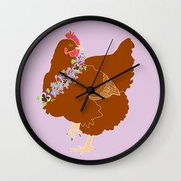 Red Hen Spring Chicken Flower Illustration Wall Clock