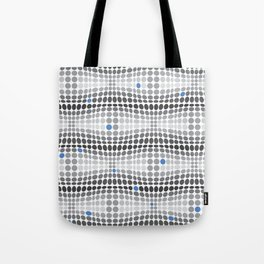 Dottywave - Grey and blue wave dots pattern Tote Bag