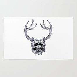 Mandala Skull With Gorgeous Antlers Rug