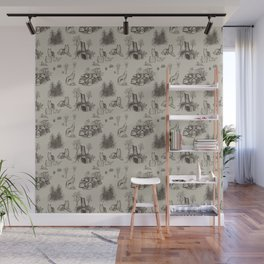 Eurasian Wolf Toile Pattern (Beige and Brown) Wall Mural