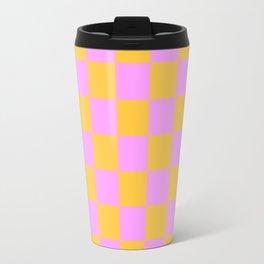 Pink and Orange Checker Travel Mug