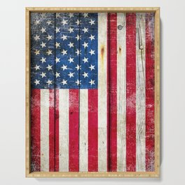 Vintage American Flag On Old Barn Wood Serving Tray